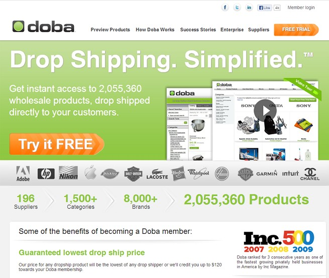 Drop shipping from DOBA