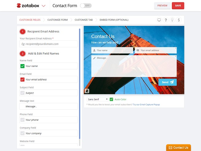 Easy Contact Form by Zotabox